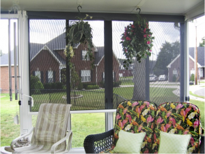 screen hanging on patio