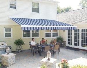 blue awning over patio