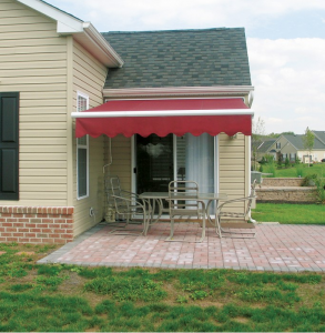 red awning over patio