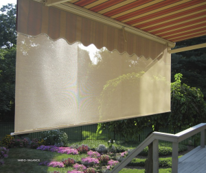 red awning with screen